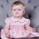 Hand Smocked Pink Rosebud Dress