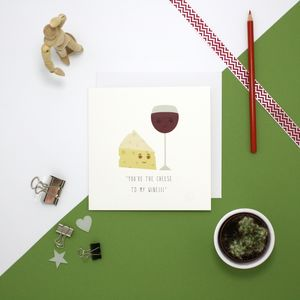 Cheese And Wine Anniversary Card