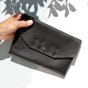 Hand Sewn Black Leather Clutch Bag