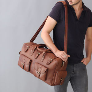 Tan Leather Holdall Bag With Pockets