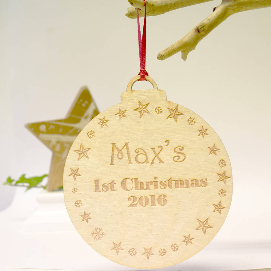 Personalised Giant 1st Christmas Wooden Bauble