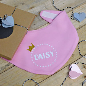 Personalised Crown Baby Bib
