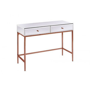 White Glass And Rose Gold Console Table