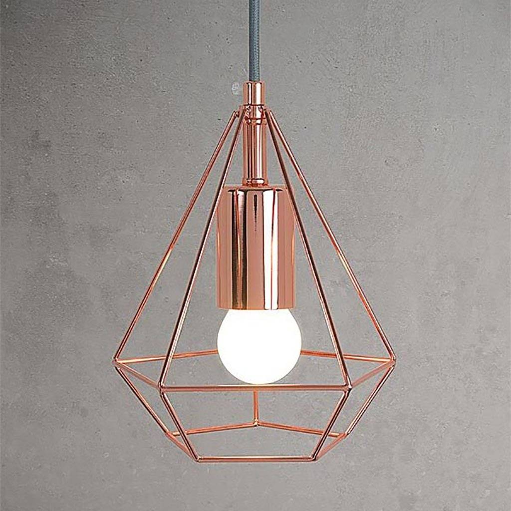 Copper Diamond Cage Pendant Light