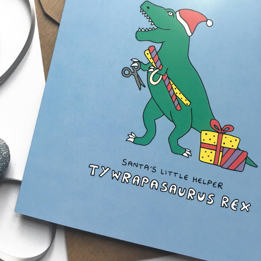 Christmas Pun.Funny Christmas Card With Dinosaur Pun