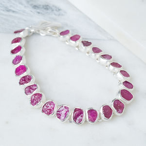 High Quality Rough Ruby Gemstone Silver Bracelet - bracelets & bangles