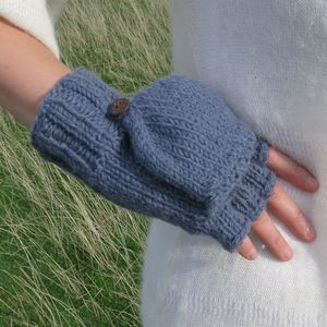 Fairtrade Handknit Wool Fleece Mitten Fingerless Gloves