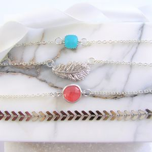 Silver Charm Bracelet Gift Set Of Four