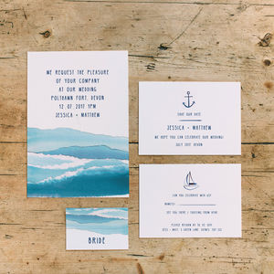Nautical Sailing Wedding Stationery Collection - save the date cards