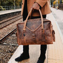 'Globe Trotter' Personalised Leather Travel Bag