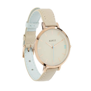 Pale Blue And Almond Italian Leather Ladies Watch - watches