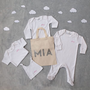 100% Organic Personalised Four Piece Set And Free Bag