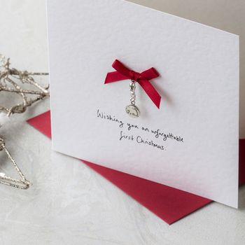 Personalised First Christmas Card With Elephant Charm