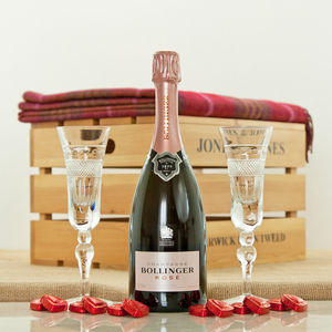 Bollinger Rose Champagne And Handmade Crystal Flutes