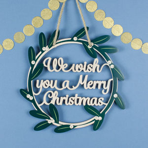 Wooden Merry Christmas Mistletoe Wreath - view all decorations