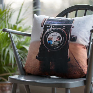 Personalised Vintage Camera Lens Photo Cushion - living room