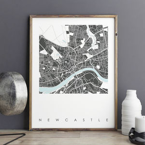Newcastle Map Art Print Limited Edition