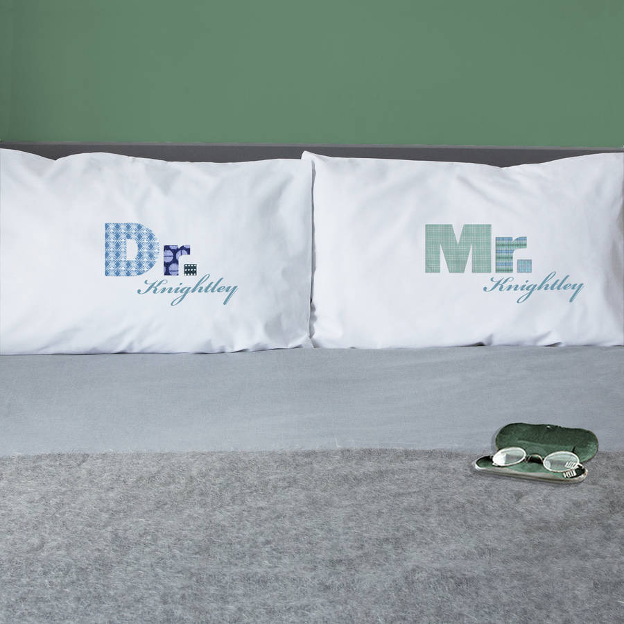 Personalised Couple Pillowcases Mr / Mrs Set By Twisted