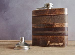 Leather Strips Hip Flask Custom Initials