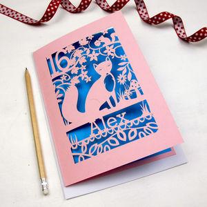 Personalised Papercut Fox Birthday Card