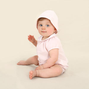 Baby Girl French Designer Romper And Sun Hat Set
