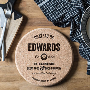 Personalised Cork Trivet - tableware