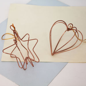 Hanging Copper Wire Decorations - tree decorations