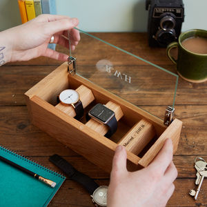 Personalised Etched Glass Solid Oak Watch Box - for him