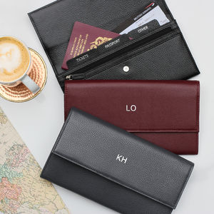 Luxury Leather Monogrammed Travel Document Wallet - passport & travel card holders