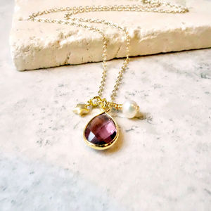 Amethyst Gemstone Charm Necklace - necklaces & pendants