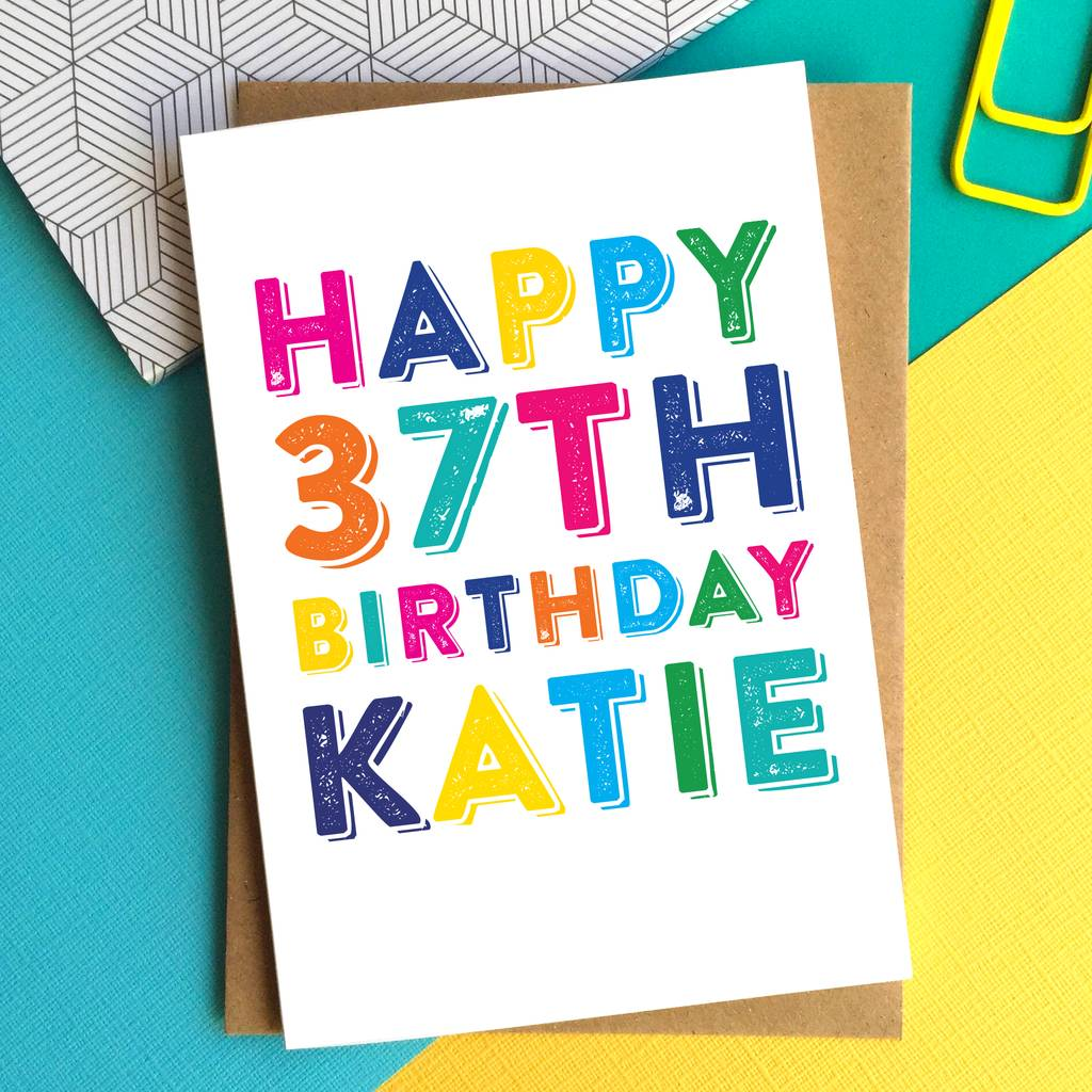 Happy Birthday Colourful Personalised Greeting Card