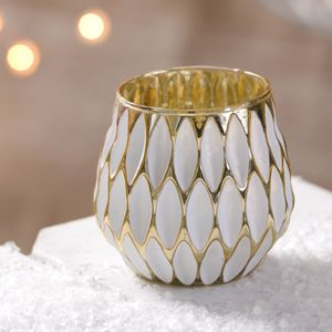 Hexagonal White And Gold Candle Holder - candles & candlesticks