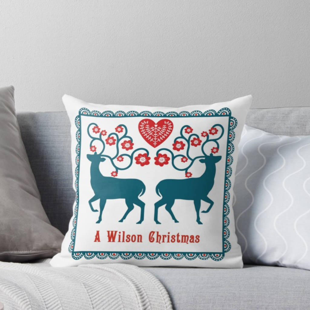 scandinavian christmas deer throw pillow by claryce design notonthehighstreet.com