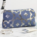 Metallic Makeup Bag In Blue