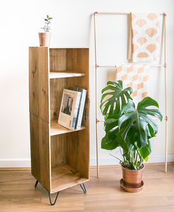 Tall Reclaimed Wine Crate Cabinet With Hairpin Legs