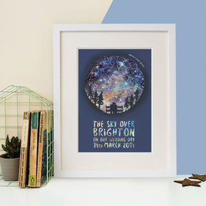 Personalised Couple Map Of The Stars - 1st anniversary: paper
