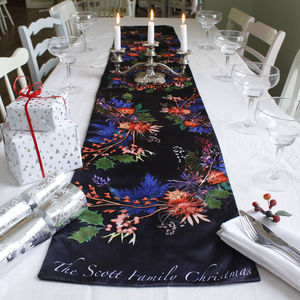 Personalised Family Christmas Wreath Table Runner