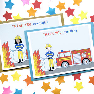 Firefighter Child Thank You Note Cards - winter sale