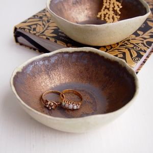 A Handmade Gold Ceramic Ring Dish