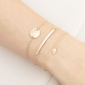 Personalised Gold Fill Stacking Bracelet Set - gifts for her