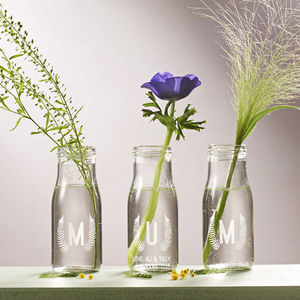 Personalised 'Mum' Botanical Bottle Bud Vases - dining room
