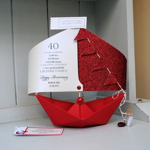 40th Ruby Wedding Anniversary Paper Boat Card