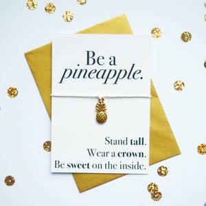 Gold Pineapple Inspirational Quote Wish Bracelet