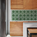 Azulejos Green Kitchen Walls Backsplash Wallpaper