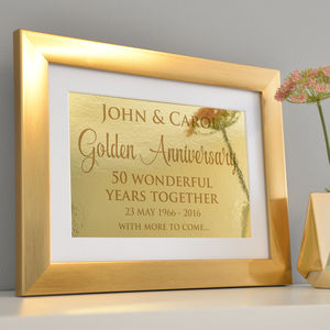 Personalised Golden Wedding Anniversary Framed Print - 50th anniversary: gold