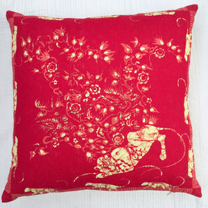 Linen Batik Cushion Pink Leopard - living room
