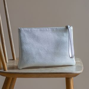 Metallic Leather Clutch With Satin Lining - clutch bags