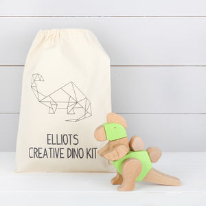 Wooden Dinosaur Kit With Personalised Bag, Three Styles
