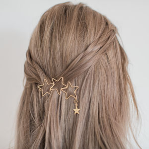 Gold Star Trio Hair Clip - bridesmaid accessories