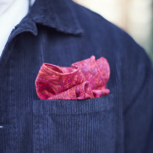 Bright Pink Floral Pocket Square - handkerchiefs